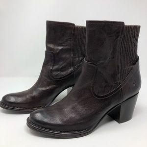 FRYE Dark Brown Lucinda Scrunch Ankle Boots 10 M